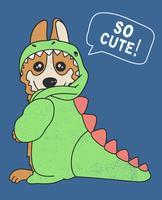 Cane sveglio disegnato a mano nell'illustrazione del costume del dinosauro vettore