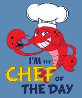 Illustrazione sveglia disegnata a mano del cuoco unico dell'aragosta