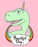 Dinosauro carino disegnato a mano con illustrazione di corno di unicorno vettore