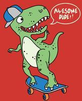 Dinosauro sveglio disegnato a mano sull'illustrazione dello skateboard vettore