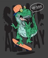 Illustrazione di dinosauro per la stampa di t-shirt vettore