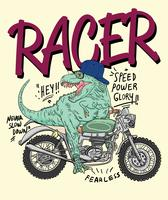 Dinosauro su un'illustrazione di moto vettore