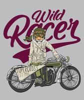 Tigre disegnata a mano con l'illustrazione della motocicletta vettore
