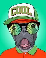 Cane freddo disegnato a mano con l'illustrazione di vetro e del cappello vettore