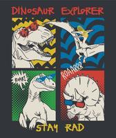 Disegnata a mano illustrazione di dinosauro comico vettore