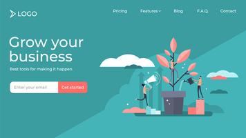 Mentoring flat small people landing page template design.