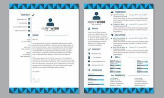 Modello di piè di pagina intestazione copertina blu curriculum vitae