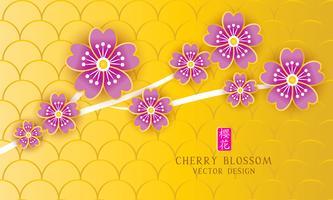 Banner di fiori di ciliegio con stile di taglio della carta. vettore