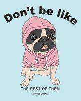 Illustrazione d'uso di maglia con cappuccio del cane sveglio disegnato a mano vettore