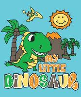 Dinosauro disegnato a mano nel paesaggio con l'illustrazione del vulcano e del sole vettore
