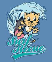 Gatto carino disegnato a mano surf illustrazione vettore
