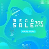 Vendita moderna poster mega vendita Spazio in stile Memphis per il tuo testo
