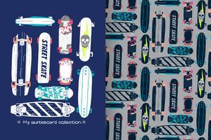 skateboard con set di pattern vettore