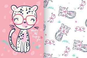 Ghepardo felice con set di pattern