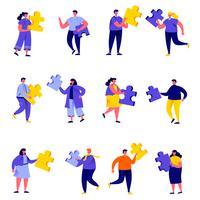 Insieme di persone piatte che collegano personaggi di elementi puzzle