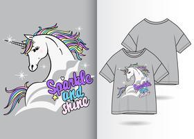 Simpatico design a t-shirt con unicorno magico vettore