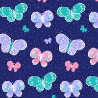 Reticolo di farfalla rosa viola pastello disegnato a mano vettore