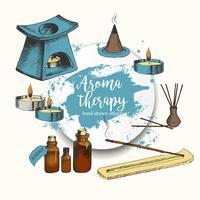 Sfondo di aromaterapia con oggetti disegnati a mano vettore