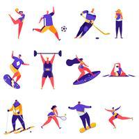 Insieme di personaggi di attività sportive persone piatte