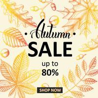 Insegna di vendita di autunno con le foglie di scarabocchio vettore
