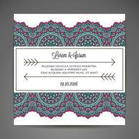Carta di invito con ornamenti in pizzo. vettore