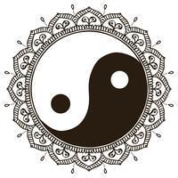 Mandala. Ornamento rotondo Yin Yang
