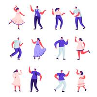 Insieme di persone piatte ballano a personaggi di una festa vettore