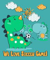 We Love Soccer Gioco Dinosaur vettore