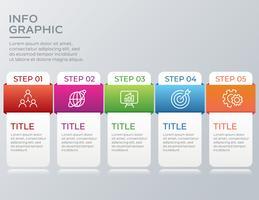 Infografica business moderno con cinque passaggi