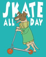 Skate All Day Dog vettore