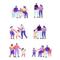 Insieme di persone piatte momenti felici di personaggi familiari.