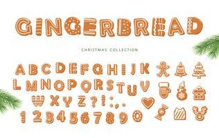 Alfabeto di Pan di zenzero e raccolta di biscotti diversi vettore