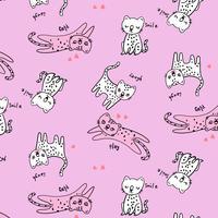 Disegnato a mano modello gatto giocoso rosa e bianco vettore
