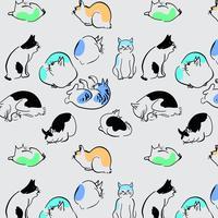 Gatti delicati disegnati a mano contorno rotolando e dormendo modello vettore
