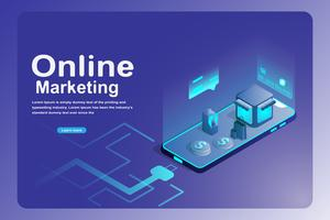 Concetto di landing page di marketing online