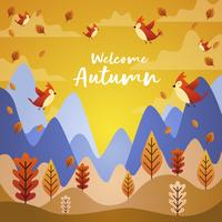 Uccelli che volano in Autumn Season Cartoon Illustration