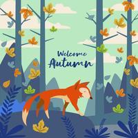 Fox Illustrazione Nella Foresta Per L'autunno
