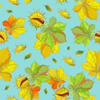 Modello di vettore senza soluzione di continuità con foglie di autunno e castagne su sfondo blu.