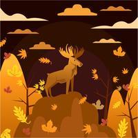 Illustrazione dei cervi con colore di tema arancio di stagione di caduta di autunno
