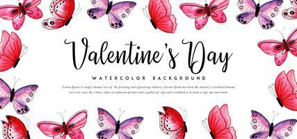 Banner di San Valentino farfalle acquerello vettore