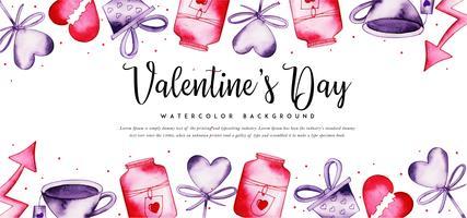 Banner di San Valentino ad acquerello vettore