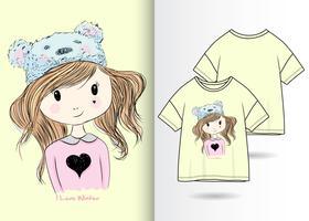Ragazza carina disegnata a mano con design t-shirt
