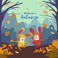 Conigli divertenti che giocano nella foresta con le foglie nella stagione di caduta di autunno