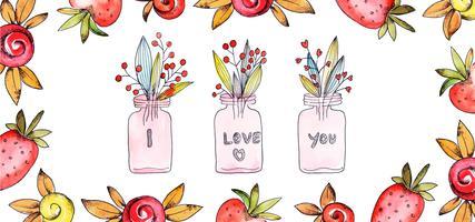 Ti amo Valentine Banner vettore