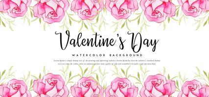 Banner di rose acquerello San Valentino