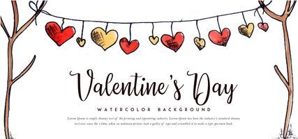 Banner di San Valentino cuori ad acquerello vettore