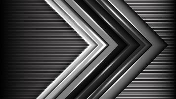 Freccia grigia astratta con fondo nero