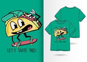 Disegnata a mano carina pizza t-shirt design vettore