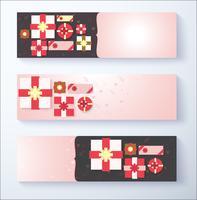 Banner confezione regalo per l'utilizzo di offerte speciali e sconti pubblicitari vettore