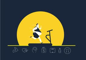 grasso uomo obeso in esecuzione sul tapis roulant con icone di brughiera vettore